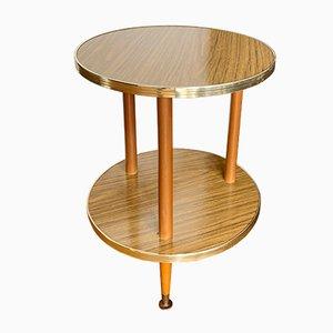 Tavolino rotondo vintage in legno di formica