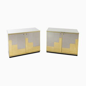 Italian Sideboards in Brass and Chrome, 1970s, Set of 2