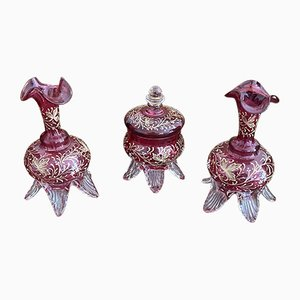 Lady's Toilette Set in Red St. Louis Crystal, 19th Century, Set of 3