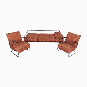 Bauhaus Chrom Sessel und Sofa, 1930er, 3er Set