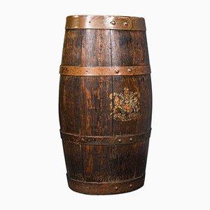 Antique English Victorian Oak Coopered Barrel Stick Stand