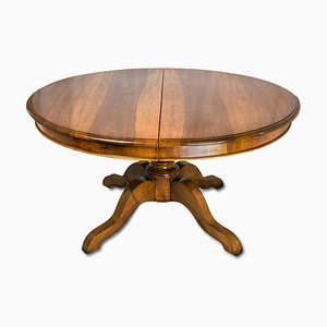 Antique Oval Extendable Walnut Dining Table, 1800s