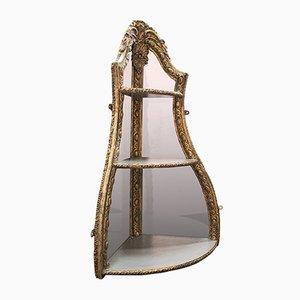 Antique English Regency Decorative Gilt Gesso Mirrored Display Corner Shelf