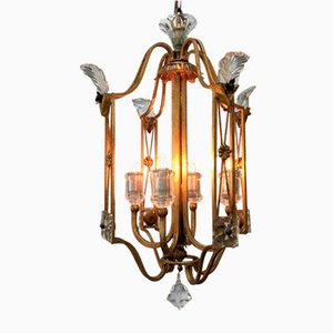 Vintage Lantern in Gilt Iron and Crystal from Banci