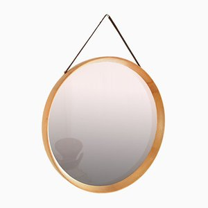 Oak Wall Mirror by Uno & Östen Kristiansson for Luxus