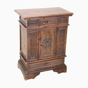 Large Antique Carved Walnut Nightstand, 1880s