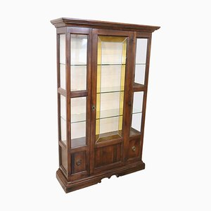 Vintage Walnut Display Cabinet with Cathedral Glass, 1950s