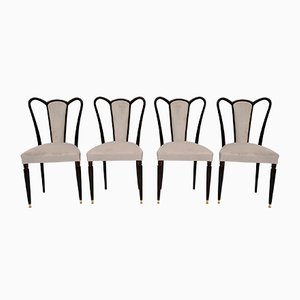 Mid-Century Modern Velvet Dining Chairs by Guglielmo Ulrich, Italy, 1940s, Set of 4