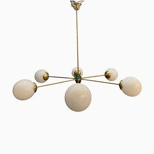 Space Age Opalglas Sputnik Kronleuchter mit 6 Leuchten, 1960er