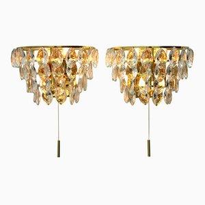 Apliques de pared de latón dorado y cristal de Palwa, años 60. Juego de 2
