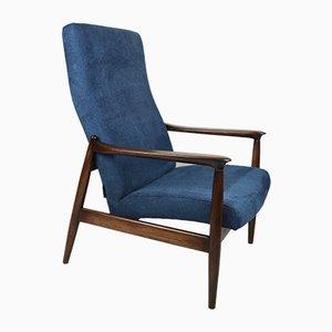 Vintage Blue High Armchair by Edmund Homa, 1970s