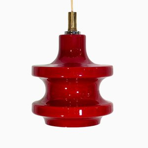 Vintage Blood Red Glass Ceiling Lamp, 1970s