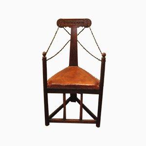Sedia ad angolo Arts & Crafts con cinturini in pelle