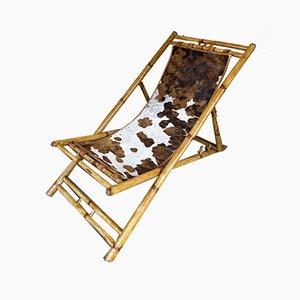 Italienischer Sessel aus Bambus & Leder, 1980er