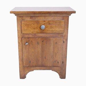 Comodino rustico in legno di quercia massiccio, anni '10