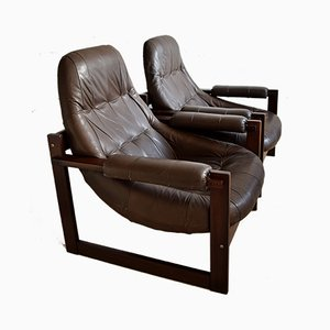 Mid-Century Modern Brazilian Mahogany and Leather Lounge Chairs from Percival Lafer, Set of 2