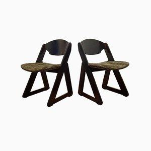 Italian Dining Chairs in Wood & Velvet, 1980s, Set of 6
