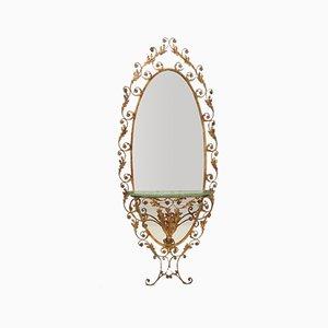 Consolle da ingresso e specchio in ottone con ripiano in vetro di Pierluigi Colli
