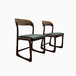 Trineau Esszimmerstühle aus schwarzem Öko Leder von Baumann, Frankreich, 1960er, 2er Set