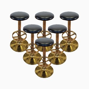 Vintage Gold Metal and Leather Bar Stools, Yugoslavia, 1980s, Set of 6