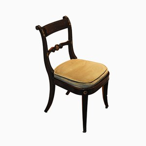 Antique Empire Mahogany Chair with Brass Mounts & Carved Wood Detailing, 1700s