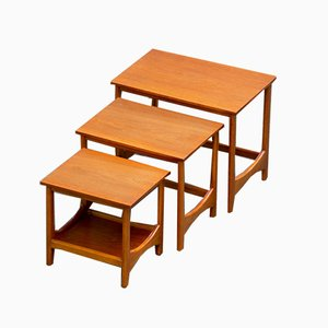 Vintage Scandinavian Teak Coffee Nesting Tables, Set of 3