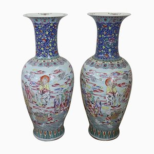 Large Vintage Hand-Painted Porcelain Vases, 1950s, Set of 2
