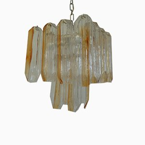 Lustre en Verre Murano avec 4-Éclairages en Verre Transparent avec Rayures en Ambre et Structure en Métal