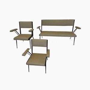 Mobilier de Salon et 2 Fauteuils en Métal Laqué Noir, 1960s, Set de 3