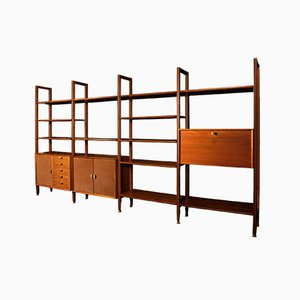 Modular Bookcase in Wood, Suede and Brass, Italy, Late 1950s