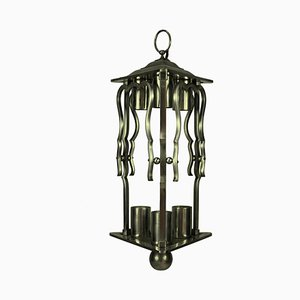 French Steel Lantern Lamp, 1930s