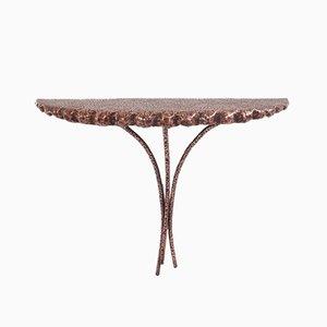 Petite Table Console en Métal et Cuivre par Angelo Bragalini, 1950s