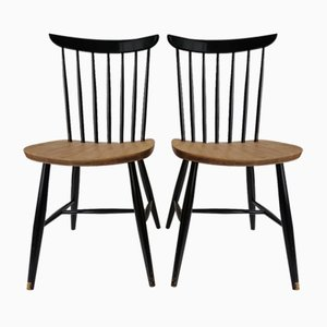 Spindle Back Dining Chairs by Tapiovaara for Pastoe, 1950s, Set of 2