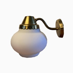Brass Wall Lamp with Opal Glass Shade, 1940s
