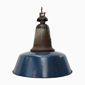 Vintage Industrial Blue Enamel & Cast Iron Pendant Lamp