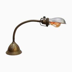 Lampada da tavolo o da scrivania vintage industriale in metallo grigio e ottone