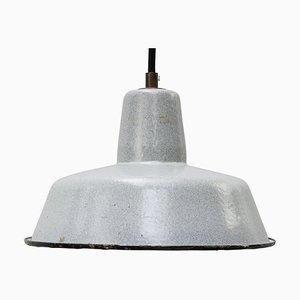 Vintage Industrial Gray Enamel Factory Pendant Light