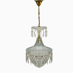 Crystal and Glass Pendant Lamp, 1930s