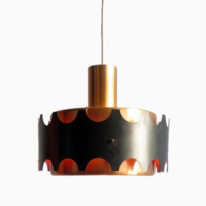 Coppered and Black Pendant Lamp from Doria Leuchten, 1960s