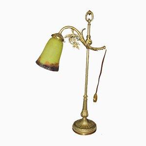 Lampada da tavolo in bronzo e vetro di Degué