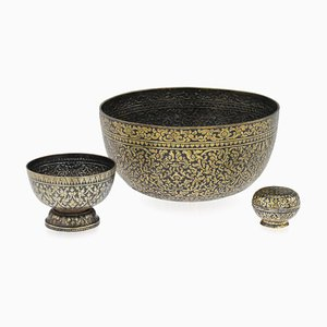 19th Century Thai Solid Silver Gilt & Niello Enamel Betel Bowls, Siam, 1860s, Set of 3