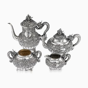 19th Century Chinese Export Solid Silver Tea Set, Woshing, Shanghai, 1890s, Set of 4