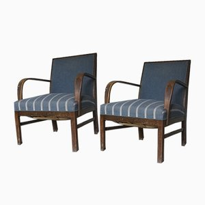 Easy Chairs in Dark Stained Beech from Fritz Hansen, 1930s, Set of 2