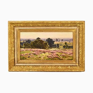 Antique Landscape Painting with Hills by Didier Pouget, 19th Century