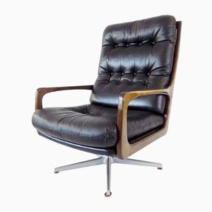 Sedia in pelle nera di Eugen Schmidt per Solo Form