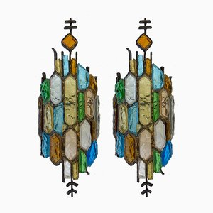 Italian Hammered Glass and Gilt Iron Sconces from Longobard, 1970s, Set of 2