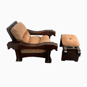 Armchair and Footrest by Luciano Frigerio, Set of 2
