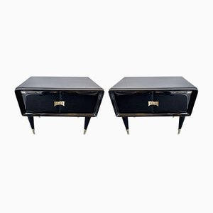Italian Lacquered Wood and Brass Nightstands by Vittorio Dassi, 1950s, Set of 2