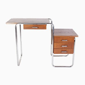 Tavolo o scrivania in metallo tubolare cromato di Kovona, anni '50