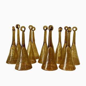 Blown Glass Pomponnette Champagne Flutes from Biot, France, 1960s, Set of 12